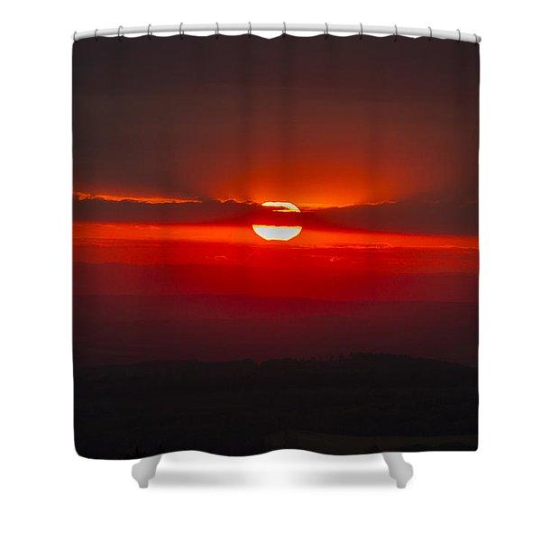 Dark Red Sun In Vogelsberg Shower Curtain