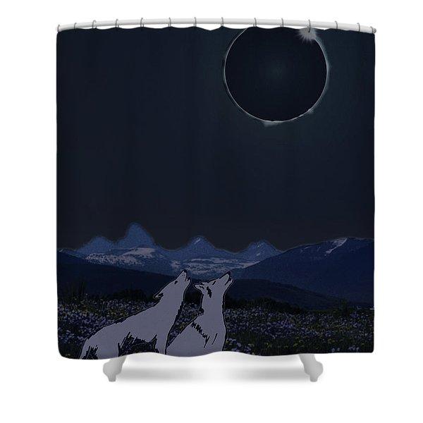 Dark Sky Eclipse Flare Shower Curtain