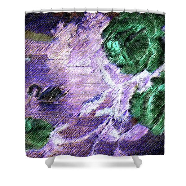 Dark Swan And Roses Shower Curtain