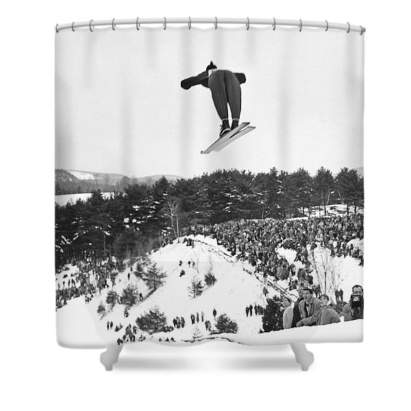 Dartmouth Carnival Ski Jumper Shower Curtain