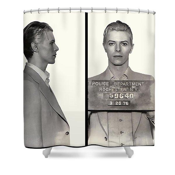 David Bowie Mugshot 1976 Shower Curtain