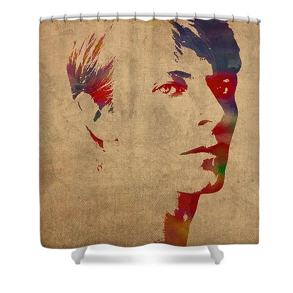 David Bowie Rock Star Musician Watercolor Portrait On Worn Distressed Canvas Shower Curtain