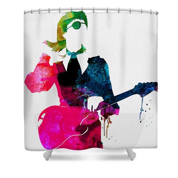 David Watercolor Shower Curtain