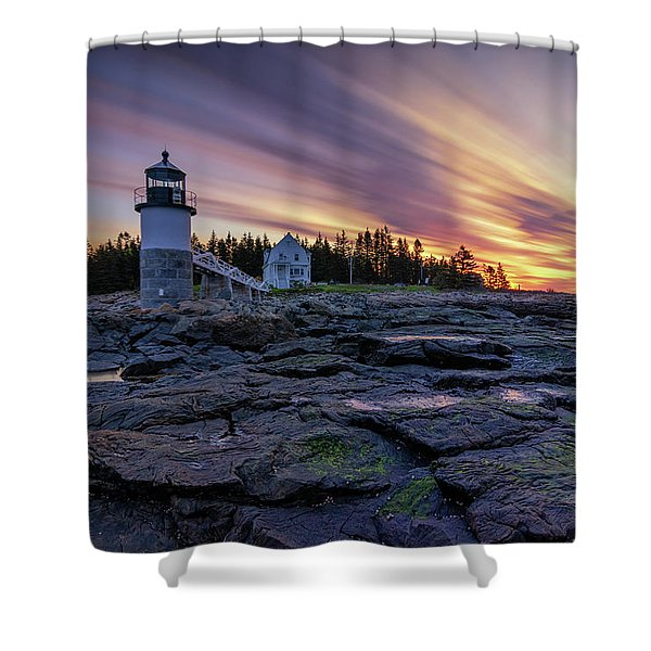 Dawn Breaking At Marshall Point Lighthouse Shower Curtain