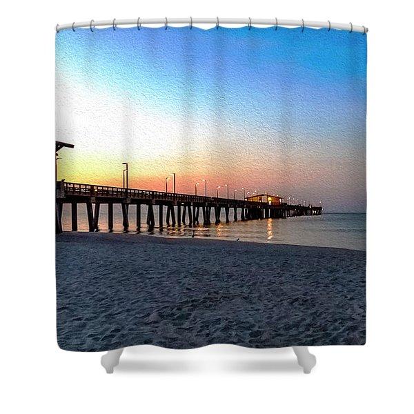 Dawn At Gulf Shores Pier Al Seascape 1283a Digital Painting Shower Curtain