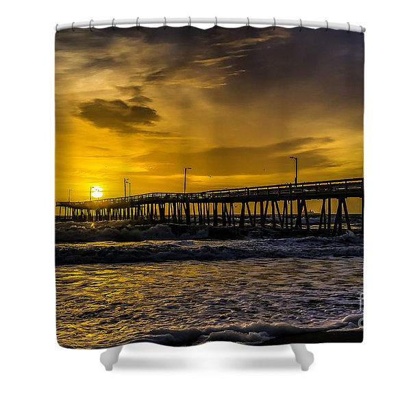 Dawn At The Virginia Pier Shower Curtain