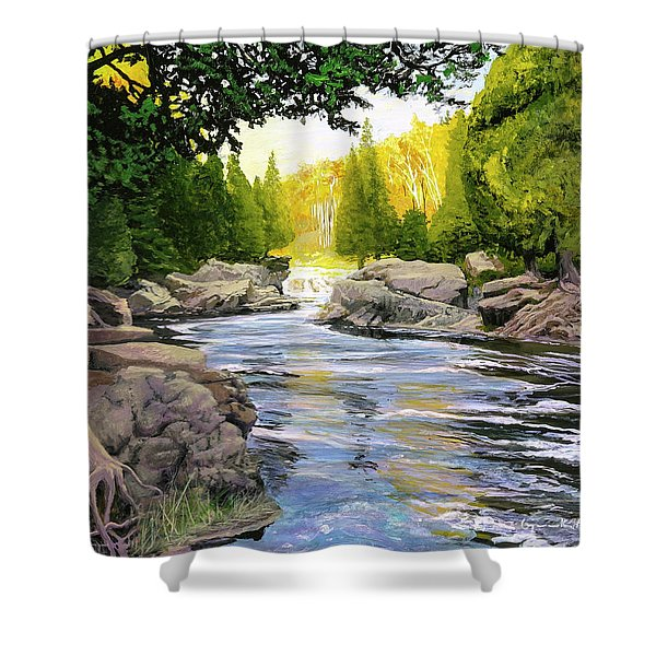 Dawn On The River Shower Curtain