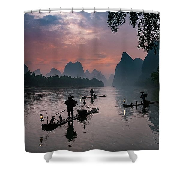 Waiting For Sunrise On Lee River. Shower Curtain