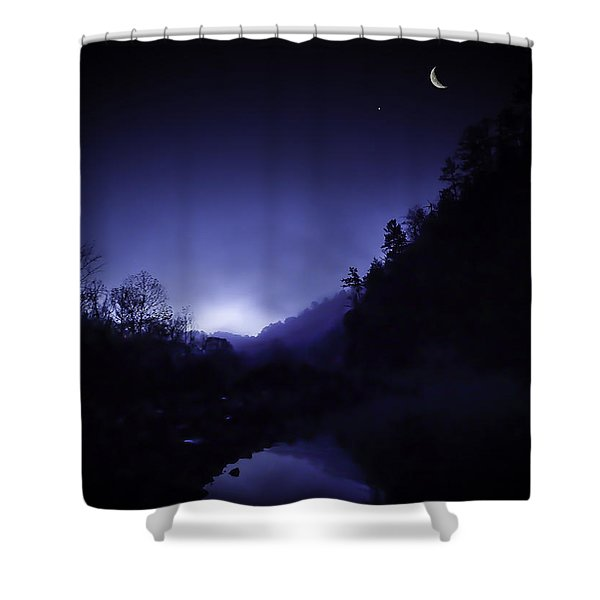 Dawn On The Lower Mountain Fork River Shower Curtain