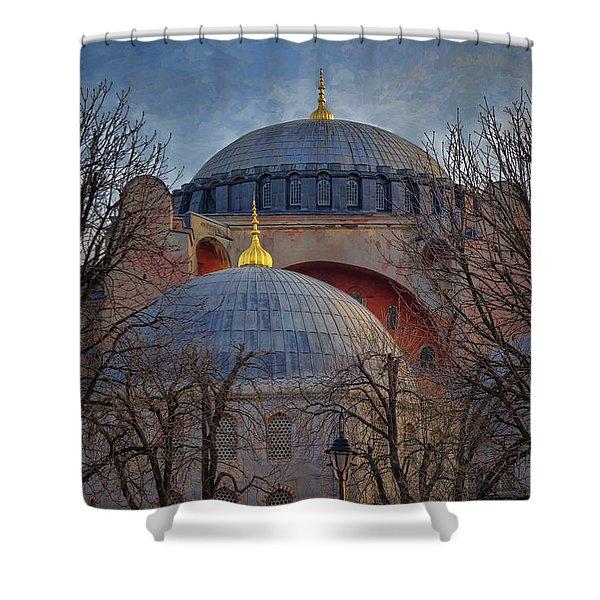 Dawn Over Hagia Sophia Shower Curtain by Joan Carroll