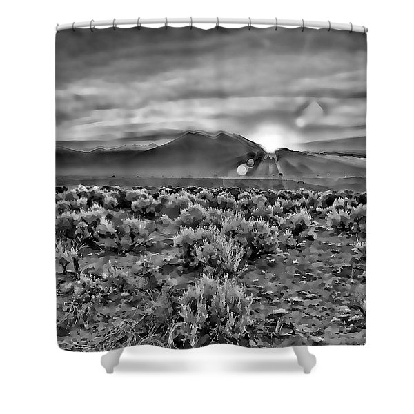 Dawn Over Magic Taos In B-w Shower Curtain