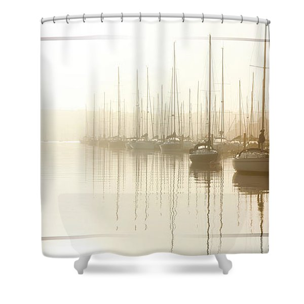 Dawn Reflections - Yachts At Anchor On The River Shower Curtain