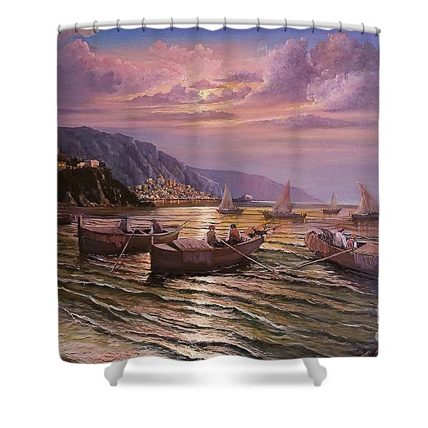Day Ends On The Amalfi Coast Shower Curtain