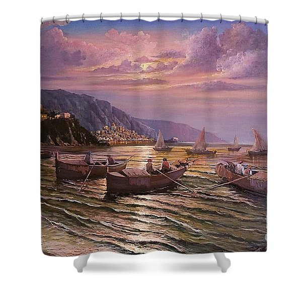 Shower Curtain featuring the painting Day Ends On The Amalfi Coast by Rosario Piazza