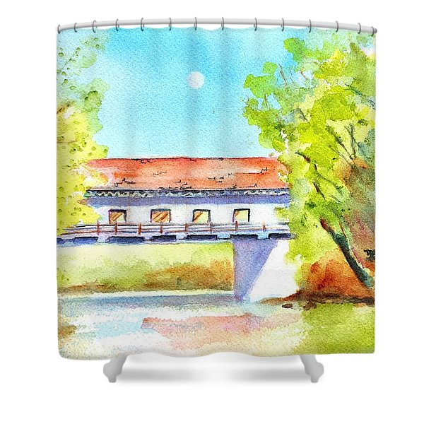Day Moon Over Covered Bridge Shower Curtain
