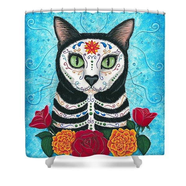 Day Of The Dead Cat - Sugar Skull Cat Shower Curtain