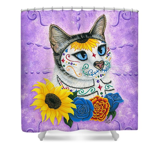 Day Of The Dead Cat Sunflowers - Sugar Skull Cat Shower Curtain