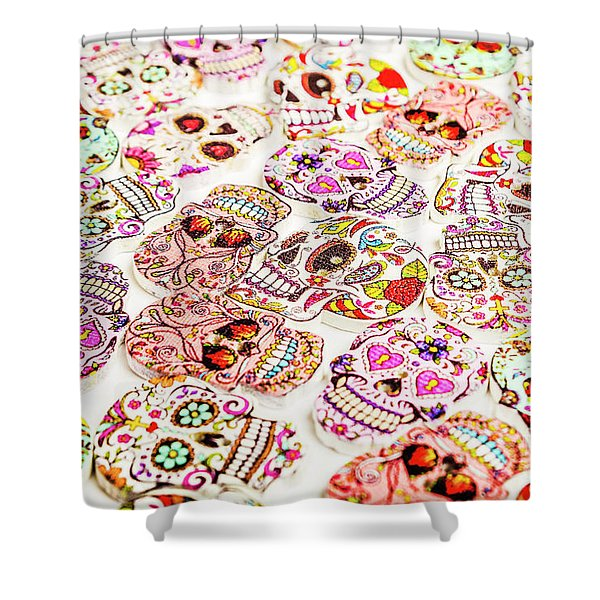 Day Of The Dead Colors Shower Curtain