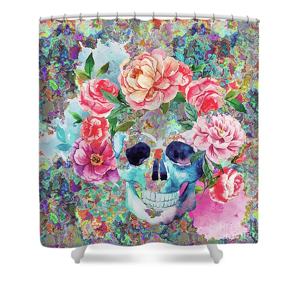 Day Of The Dead Watercolor Shower Curtain