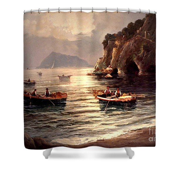 Shower Curtain featuring the painting Day's End And Work Begins In The Gulf Of Naples by Rosario Piazza
