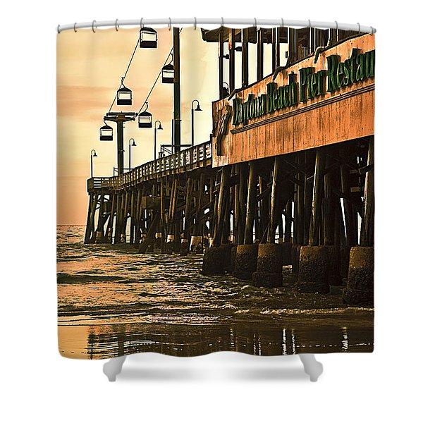Shower Curtain featuring the photograph Daytona Beach Pier by Carolyn Marshall