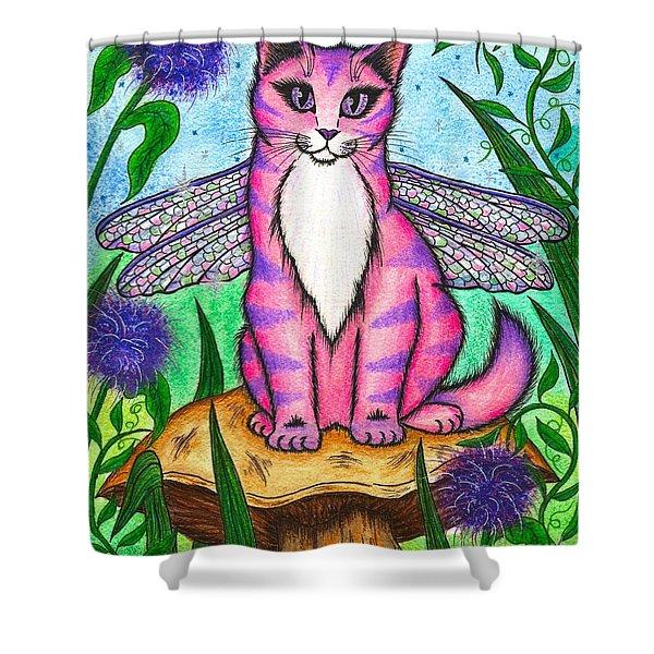 Dea Dragonfly Fairy Cat Shower Curtain