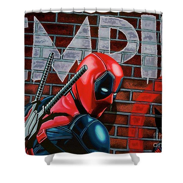 Deadpool Painting Shower Curtain