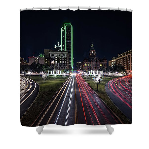 Dealey Plaza Dallas At Night Shower Curtain