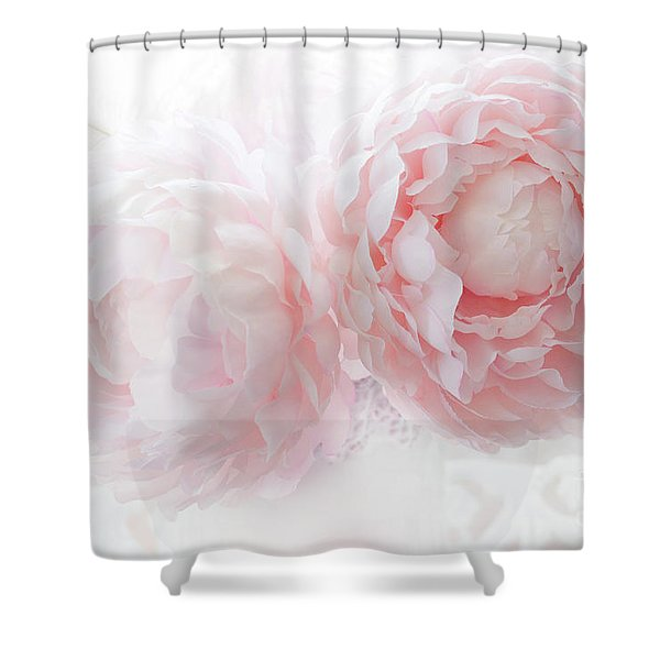 Dreamy Shabby Chic Baby Pink White Pastel Peonies - Romantic Baby Pink Peonies Decor Shower Curtain