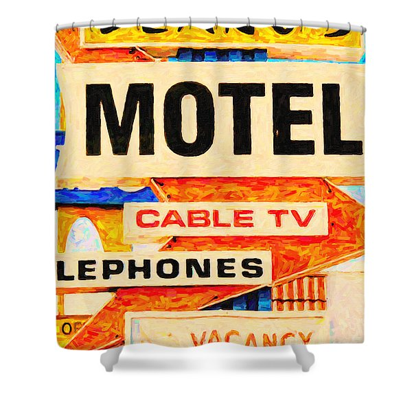 Deanos Motel Shower Curtain by Wingsdomain Art and Photography