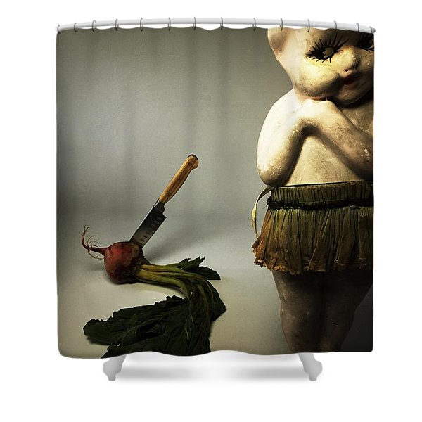 Death Of A Vegetable Shower Curtain