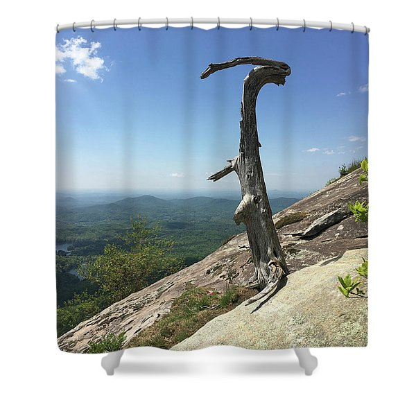 Decaying Tree At The Top Of Table Rock Trail South Carolina Shower Curtain