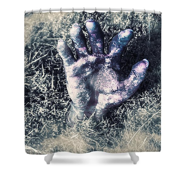 Decaying Zombie Hand Emerging From Ground Shower Curtain