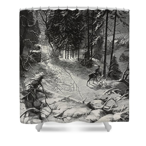 December Night Snow Covered Wood Shower Curtain