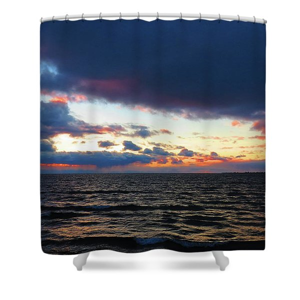 December Sunset, Wolfe Island, Ca. View From Tibbetts Point Lighthouse Shower Curtain
