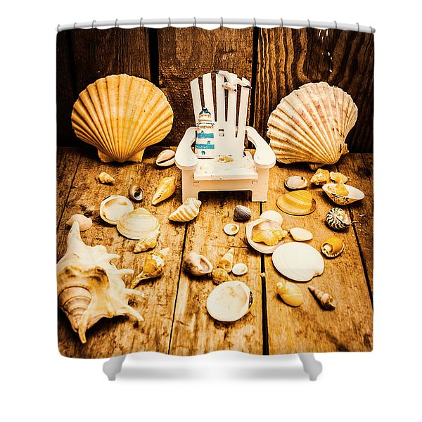 Deckchairs And Seashells Shower Curtain