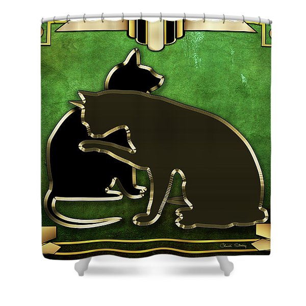 Deco Cats - Emerald Shower Curtain
