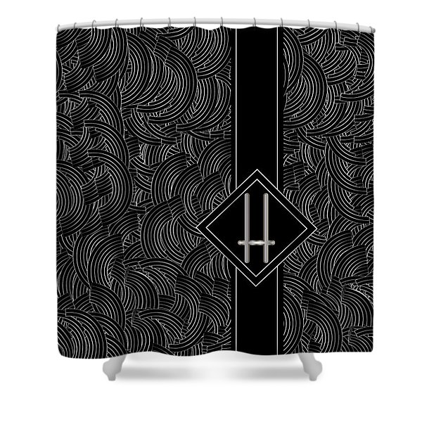 Deco Jazz Swing Monogram ...letter H Shower Curtain
