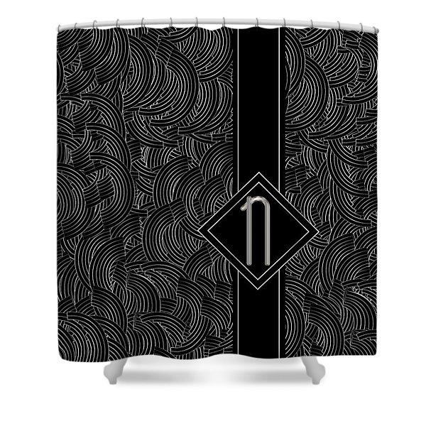 Deco Jazz Swing Monogram ...letter N Shower Curtain