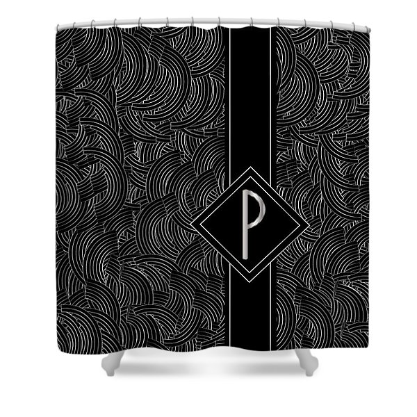 Deco Jazz Swing Monogram ...letter P Shower Curtain