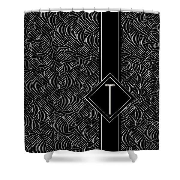 Deco Jazz Swing Monogram ...letter T Shower Curtain