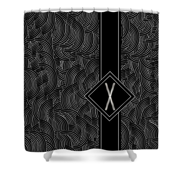 Deco Jazz Swing Monogram ...letter X Shower Curtain