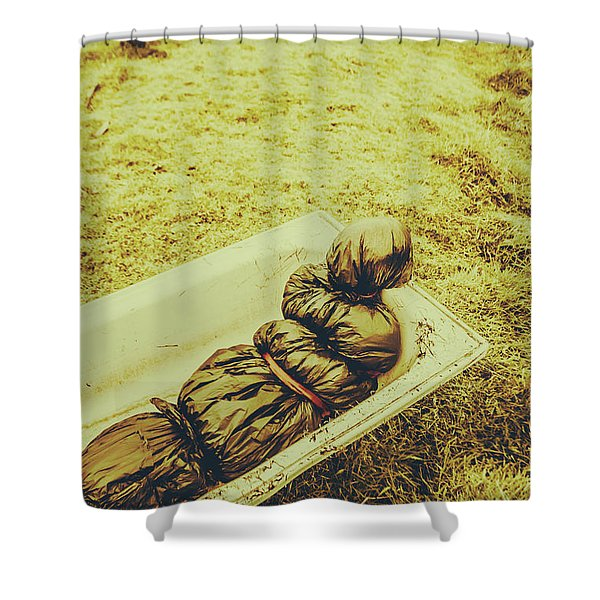 Decomposition Of A Murder Mystery Shower Curtain