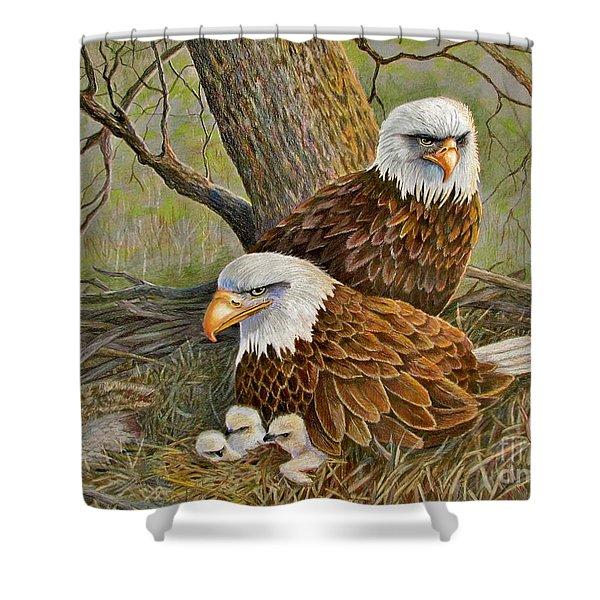 Decorah Eagle Family Shower Curtain