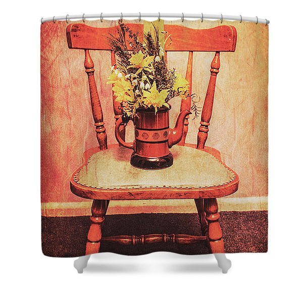 Decorated Flower Bunch On Old Wooden Chair Shower Curtain
