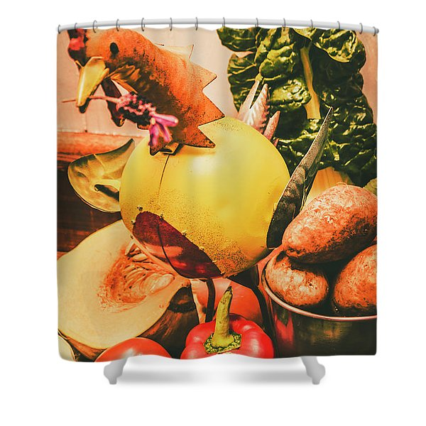 Decorated Organic Vegetables Shower Curtain