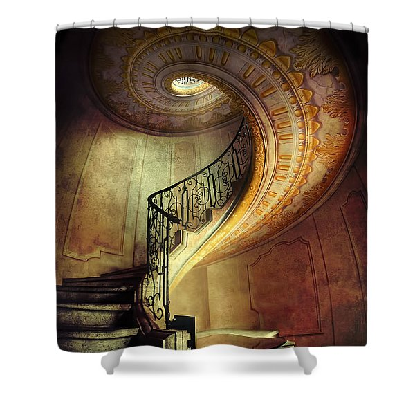 Shower Curtain featuring the photograph Decorated Spiral Staircase  by Jaroslaw Blaminsky