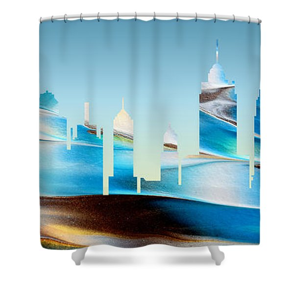 Decorative Skyline Abstract New York P1015b Shower Curtain