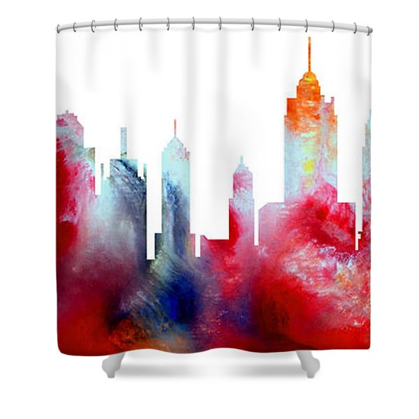 Decorative Skyline Abstract New York P1015c Shower Curtain