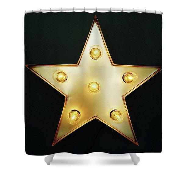 Decorative Star With Light Bulbs Shower Curtain